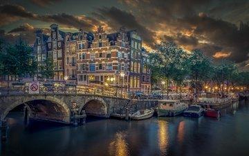 мост, лодки, канал, причал, здания, нидерланды, амстердам, brouwersgracht, канал броуверсграхт