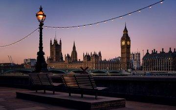 мост, лондон, башня, англия, набережная, фонарь, скамья, парламент