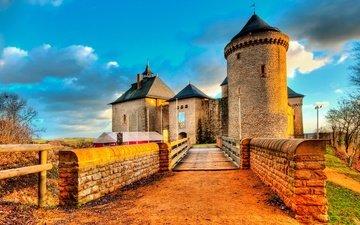 мост, замок, башня, стены, франция, мальбрук