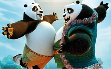 cartoon, joy, happiness, at, meeting, panda, kung fu panda 3