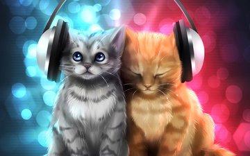 рисунок, музыка, серый, блики, наушники, кошки, котята, рыжий