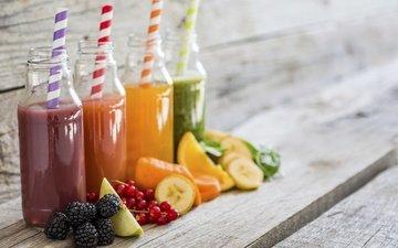 напиток, ягоды, апельсин, яблоко, трубочка, банан, блюр, ежевика, смородина, бутылочка, сок