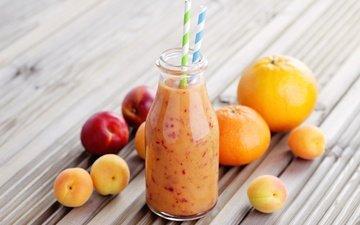 напиток, фрукты, абрикос, апельсин, мандарин, персик, трубочка, бутылочка, смузи