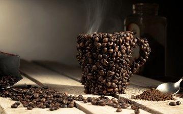 напиток, зерна, кофе, доски, креатив, чашка, пар, кофейные зерна, ложка
