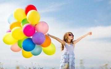 настроение, платье, очки, дети, девочка, руки, воздушный шар