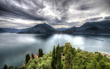 the sky, trees, lake, mountains, landscape, ship, italy