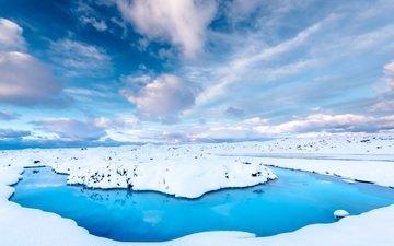 небо, дорога, облака, вода, снег, зима, исландия