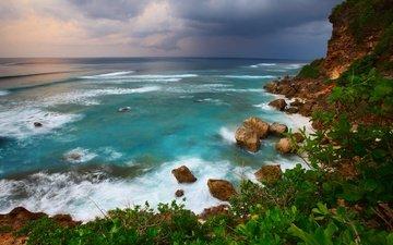 небо, горы, природа, берег, зелёный, тучи, размытость, океан, отдых, ветер, тропики, утес, индонезия, боке, бали