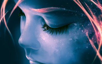 the sky, space, girl, stars, galaxy, face, eyelashes, aquasixio, focus on yourself