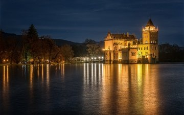 небо, ночь, деревья, фонари, огни, река, горы, берег, замок, австрия, anif castle