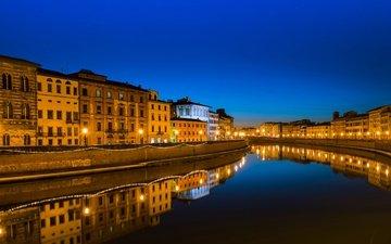 небо, ночь, фонари, огни, вода, река, отражение, канал, дома, италия, пиза, тоскана