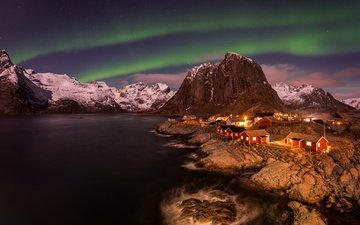 the sky, night, mountains, stars, northern lights, norway, the village, the lofoten islands, the fjord