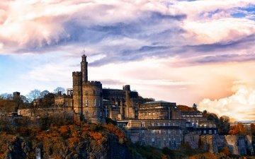 небо, облака, деревья, скалы, камни, замок, великобритания, стены, эдинбург
