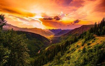 небо, облака, деревья, горы, холмы, природа, лес, закат, пейзаж, сша, леса, долина, монтана