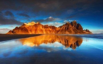 небо, облака, горы, отражения, пляж, исландия