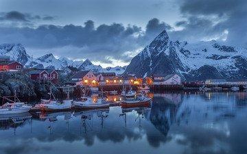 небо, облака, огни, горы, снег, зима, лодки, дома, порт, норвегия, нордланд