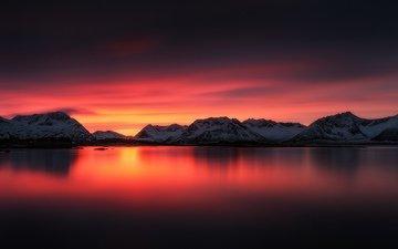 небо, облака, озеро, горы, снег, зарево
