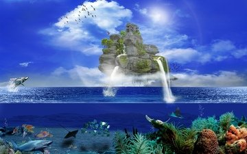 the sky, clouds, waterfall, the world, fish, birds, creative, island, underwater, fantasy