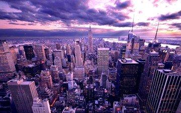 небо, облака, восход, город, небоскребы, мегаполис, дома, сша, нью-йорк, здания, сумерки