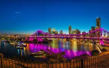 небо, огни, вечер, река, звезды, панорама, мост, небоскребы, дома, набережная, австралия, брисбен