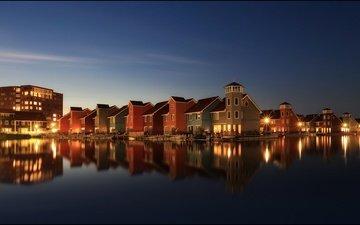 небо, огни, вечер, звезды, дома, нидерланды, skyline, голландия, гронинген