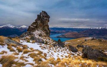 небо, озеро, горы, снег, тучи, скала