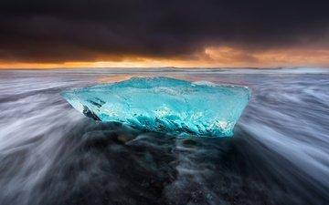 небо, природа, берег, море, пляж, лёд