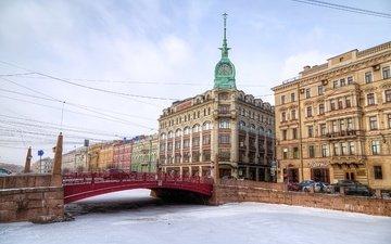 небо, река, зима, мост, лёд, дома, россия, набережная, санкт-петербург