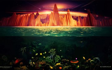 the sky, rocks, sea, meteorites, underwater world