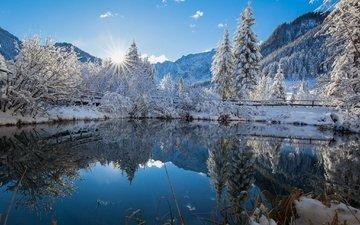 небо, свет, деревья, озеро, горы, солнце, снег, природа, зима, горы.отражение