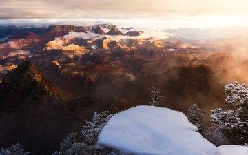 небо, свет, облака, снег, зима, туман, каньон