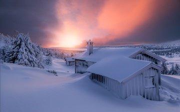 небо, свет, вечер, снег, зима, домик