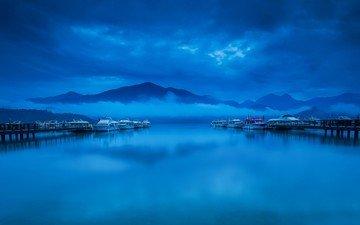 небо, вода, горы, тучи, пейзаж, море, яхты, лодки, причал