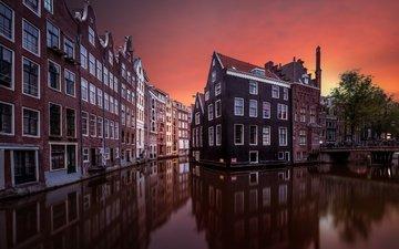 небо, вода, вечер, отражения, канал, дома, окна, нидерланды, амстердам