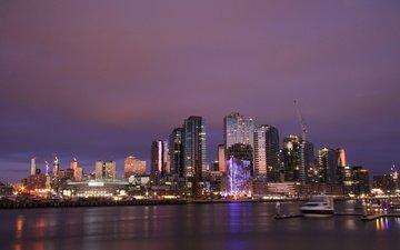 ночь, огни, дома, австралия, гавань, мельбурн