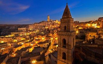 ночь, огни, дома, италия, матера, базиликата