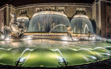 ночь, огни, фонтан, португалия, скульптуры, лиссабон