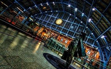 ночь, огни, лондон, часы, англия, вокзал, сент-панкрас