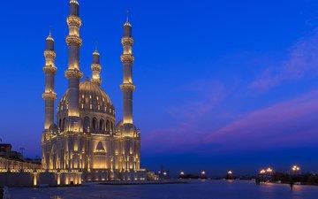 ночь, огни, мечеть, азербайджан, баку