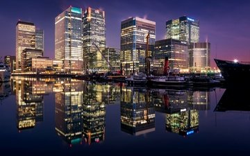 night, lights, reflection, london, home, england, south dock