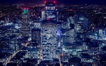 ночь, огни, панорама, лондон, дома, англия