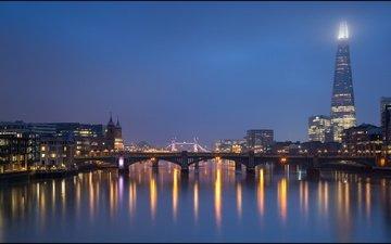 ночь, огни, река, мост, лондон, темза, англия