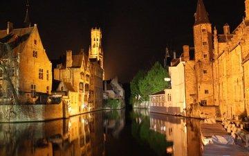 ночь, огни, река, здания, германия, брюгге