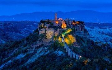 ночь, огни, скала, деревня, башня, италия, чивита-ди-баньореджо