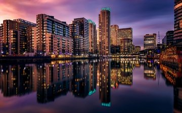 night, reflection, london, home, england, millwall inner dock