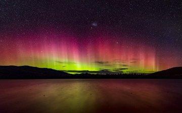 ночь, пейзаж, звезды, северное сияние, даль
