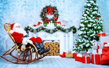 new year, tree, gifts, chair, fireplace, holiday, garland, santa claus, logs