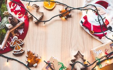 new year, gifts, santa claus, orange, holiday, bumps, garland, cookies, slice