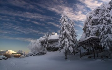 облака, деревья, снег, лестница, зима, холод