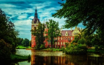 облака, деревья, зелень, парк, замок, пруд, германия, muskau park